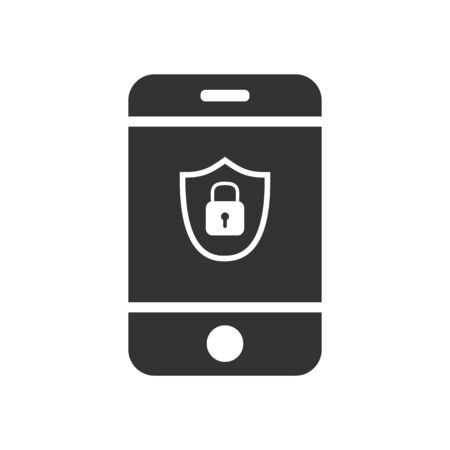 Smartphone with shield and lock icon. Simple flat design for website and app logo. Stock illustration of smartphone security and protection.