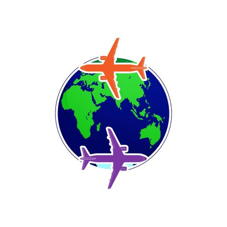 Silhouettes of two planes fly around the globe. Flat design for a logo, a sticker for your site or application