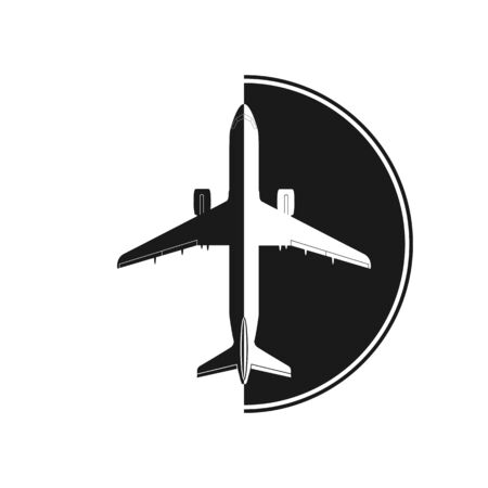 Silhouette of an airplane on the background of a semicircle. Simple flat design for a logo, logo or sticker for a website or app