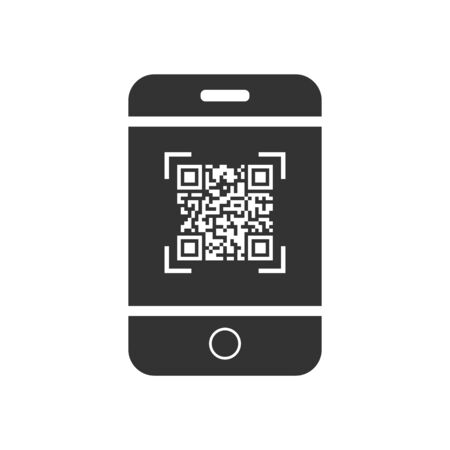 Vector QR code icon, on the smartphone screen. Simple flat design for a logo, a sticker for your site or application