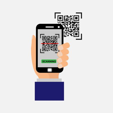 Vector icon. The smartphone in your hand scans the QR code. Simple flat design for website and app