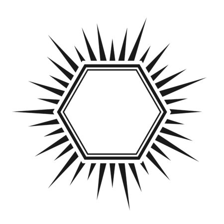 Hexagon with double frame and rays, empty outline. Simple stock illustration