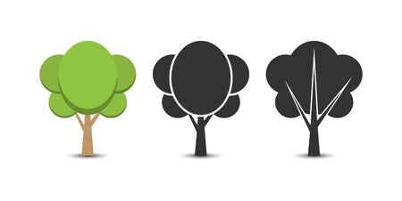 Set of vector options tree icons. Flat simple design for decoration of the theme of nature and a healthy lifestyle. 向量圖像