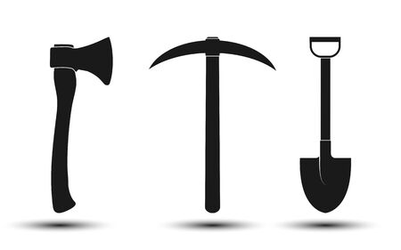 Set of icons, axe, pick and shovel. Simple flat design, stock illustration