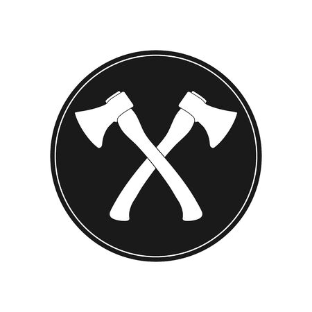 Icon of an axe. Two crossed axes simple flat design, stock illustration Иллюстрация