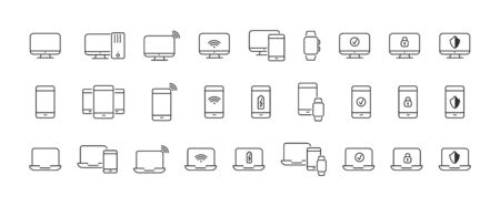 set of linear icons for your computer and mobile device. An empty polygon isolated on a white background. Simple flat stock illustration.