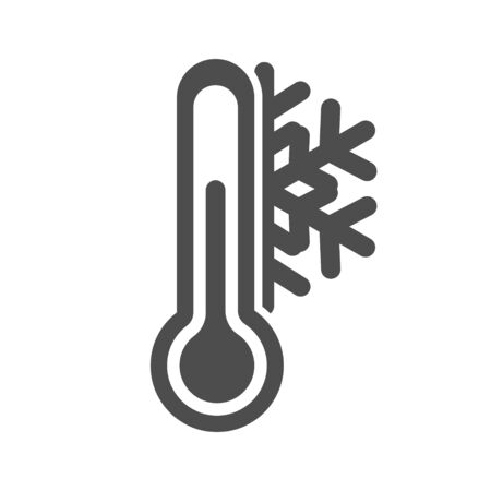 Icon of a thermometer with a snowflake. Cold weather. Simple flat vector stock illustration.