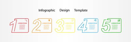 Vector template for business or Finance infographics. Development plan or strategy. Simple stock linear design. 向量圖像