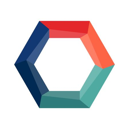 hexagon with colored sections for infographics, plans, or strategies, isolated on a white background. Simple design