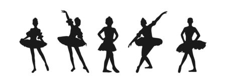 Vector set of flat ballerina silhouettes isolated on white background, flat modern design. Stock illustration for websites and apps