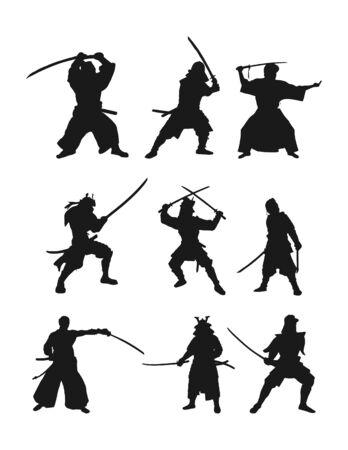 Vector set of flat samurai silhouettes isolated on white background, flat modern design. Stock illustration for websites and apps Illustration