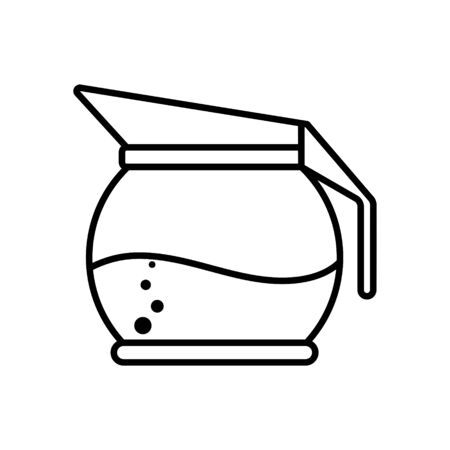 Icon of a teapot or jug. Vector stock illustration. Simple design isolated on white background, empty outline