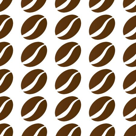 Seamless pattern of coffee beans. Stock illustration for wrapper, screen saver, background, texture, and embossing. Flat design