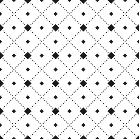 Seamless vector pattern, the dotted lines of the squares. Isolated outline on a white background.Stock background.