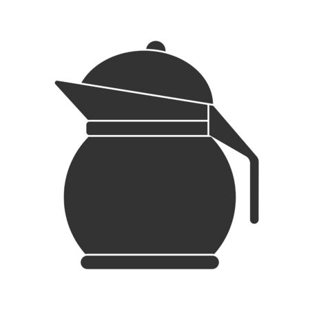 Icon of a teapot or jug with a lid. Vector stock illustration. Simple design isolated on white background