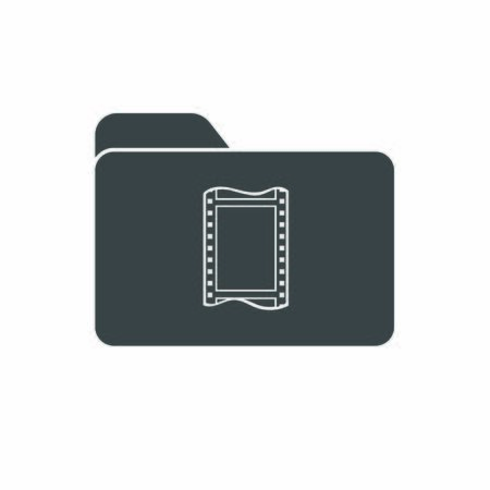 Vector icon of a folder with a movie or photo film. Symbol for storing videos or photos. Stock illustration isolated on a white background. Simple design