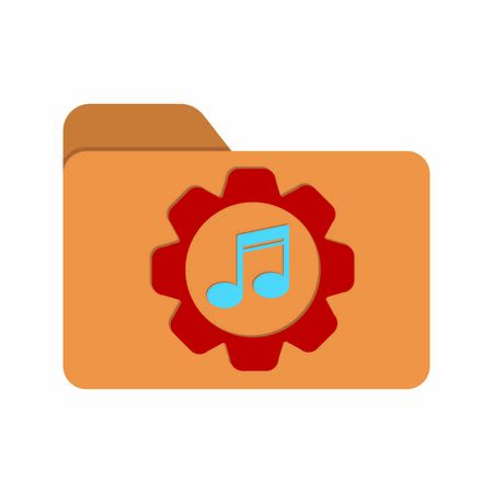 Vector color icon of a folder with a note and a gear. Music settings symbol. Stock illustration isolated on a white background. Simple design