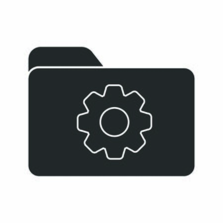 Vector icon of a folder with a gear. Parameter setting symbol. Stock illustration isolated on a white background. Simple design