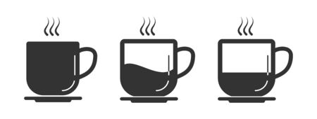 Set of coffee Cup vector icons. Simple stock design isolated on a white background for websites and apps