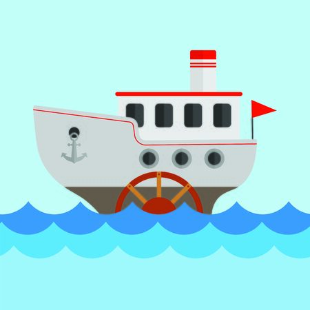 Vector children's drawing of a steamship. The ship sails on the sea. Flat design