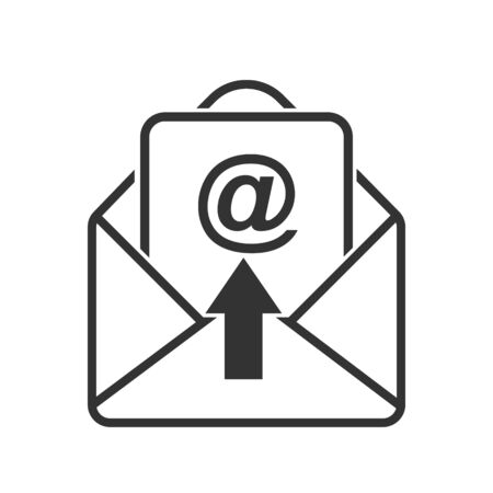 Simple vector mail icon, to open the letter. Stock design isolated on a white background for websites and apps, empty outline.