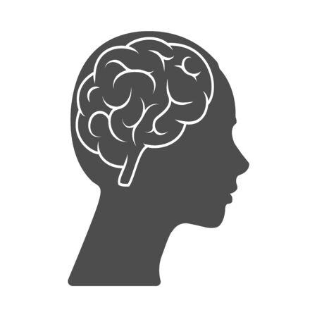 Icono de vector de una cabeza femenina con un cerebro. La silueta está aislada sobre un fondo blanco. Diseño simple Ilustración de vector