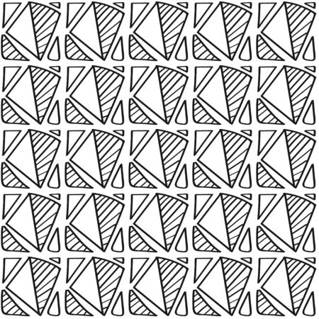 Abstract seamless black and white pattern of arbitrary shapes for backgrounds and decorations Çizim