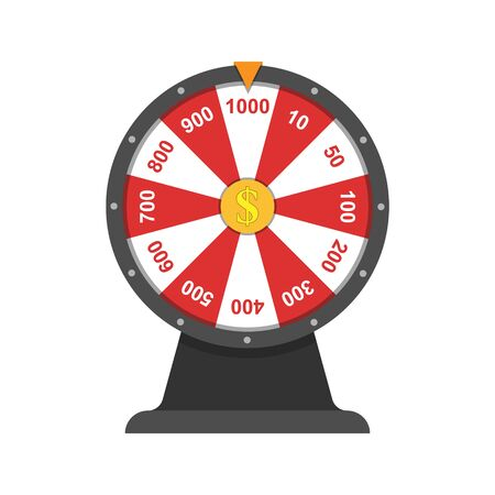 Wheel of fortune.Simple flat design isolated on white background