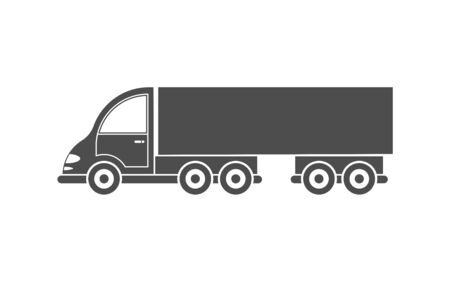 Vector icon of a tractor with a trailer. Simple design, filled silhouette isolated on white background. Design for websites and apps Иллюстрация