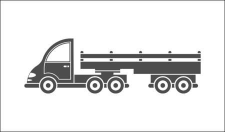 Vector icon of a tractor with a trailer. Simple design, filled silhouette isolated on white background. Design for websites and apps Illustration