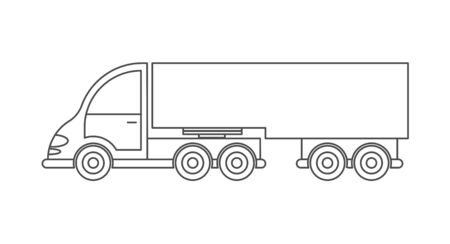 Vector icon of a tractor with a trailer. Simple design, an empty outline isolated on a white background. Design for coloring books, websites, and apps