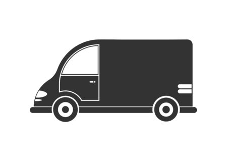 Vector icon of a car or commercial van. Simple design, filled silhouette isolated on white background. Design for websites, and apps Illustration