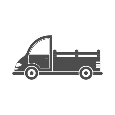 Vector icon of a car or commercial van. Simple design, filled silhouette isolated on white background. Design for websites, and apps