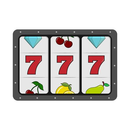 777 slot machine. Simple flat design isolated on white background Illustration