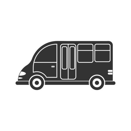 Vector icon of a car or commercial van. Simple design, filled silhouette isolated on white background. Design for coloring books, websites, and apps