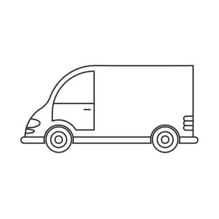 Vector icon of a car or commercial van. Simple design, an empty outline isolated on a white background. Design for coloring books, websites, and apps