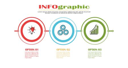 Infographics. Stock vector template of three stages. For web page design, charts, graphs, business plan and Finance, reporting and visual aid. Flat design.