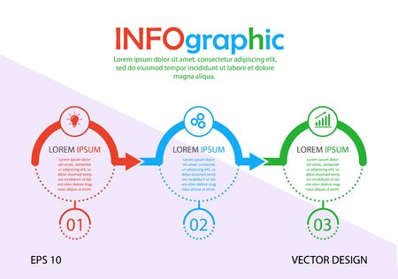 Infographics. Stock vector template of three stages. For web page design, charts, graphs, business plan and Finance, reporting and visual aid. Flat design. Stock Illustratie