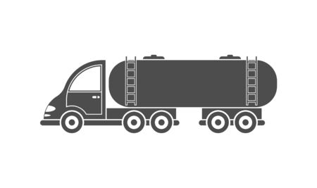Vector icon of a tractor with a tank. Simple design, filled silhouette isolated on white background. Design for websites and apps