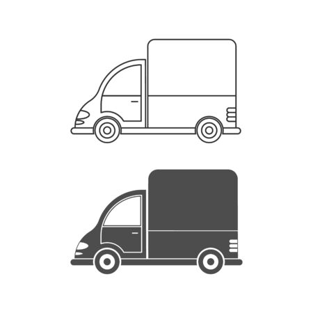 Set of vector icons for a car or commercial van. Simple design, empty and filled contour isolated on a white background. Design for coloring books, websites, and apps