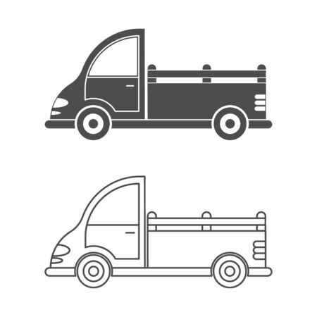 Set vector icon of a car or commercial van. Simple design, isolated on white background. Design for coloring books, websites, and apps