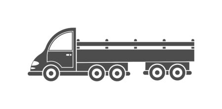 Vector icon of a tractor with a trailer. Simple design, filled silhouette isolated on white background. Design for websites and apps