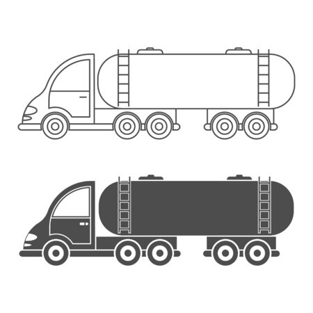 Set of vector icon tractor with tank. Simple design, filled and empty isolated on white background. Design for coloring books, websites, and apps
