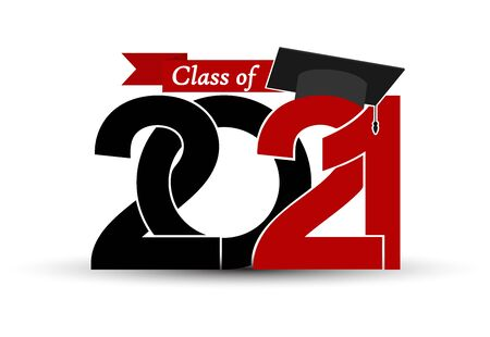 Class and graduates of 2021 with a graduation cap. Vector illustration for design and theme design