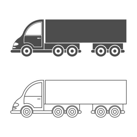 Set of vector icon tractor with trailer. Simple design, filled and empty silhouette isolated on a white background. Design for coloring books, websites, and apps