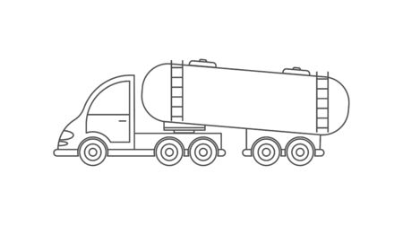 Vector icon of a tractor with a tank. Simple design, an empty outline isolated on a white background. Design for coloring books, websites, and apps