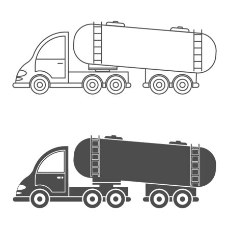 Set of vector icon tractor with tank. Simple design, ffilled and empty isolated on white background. Design for coloring books, websites, and apps