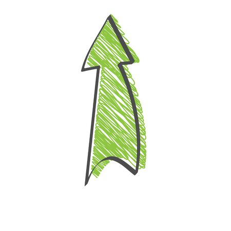 Single shaded color of the arrow. Vector drawing in the Doodle style, isolated on a white background for design and theme design.