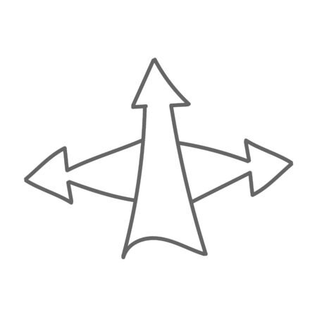 Triple arrow. Vector drawing in the Doodle style, isolated on a white background for design and theme design. Çizim