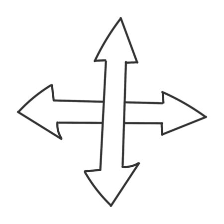 Double intersecting arrow. Vector drawing in the Doodle style, isolated on a white background for design and theme design.